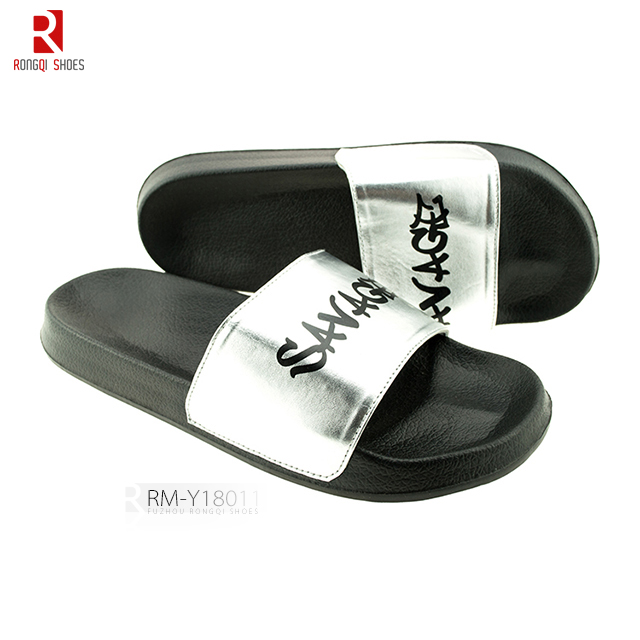 Custom logo printed shining PU men's PVC slide slippers