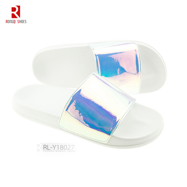 Women's sandals summer glossy shoes PU floral slider slippers