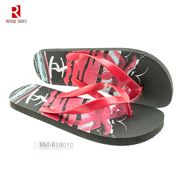 Good quality PE sole, PVC with sequined V-straps beach mens' flip-flops slippers
