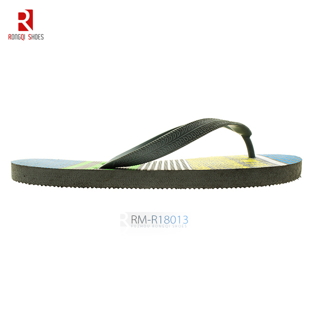 EVA Outsole Printed EVA Insole with PVC Strap Upper Flip-flops, Men's Slippers