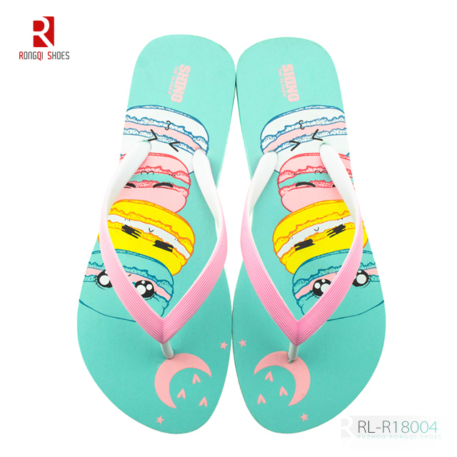Custom printing high quality women EVA flip flops