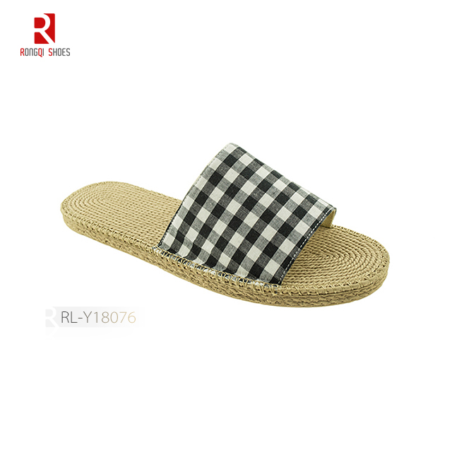 Fake jute bottom wholesale cheap women slider slipper
