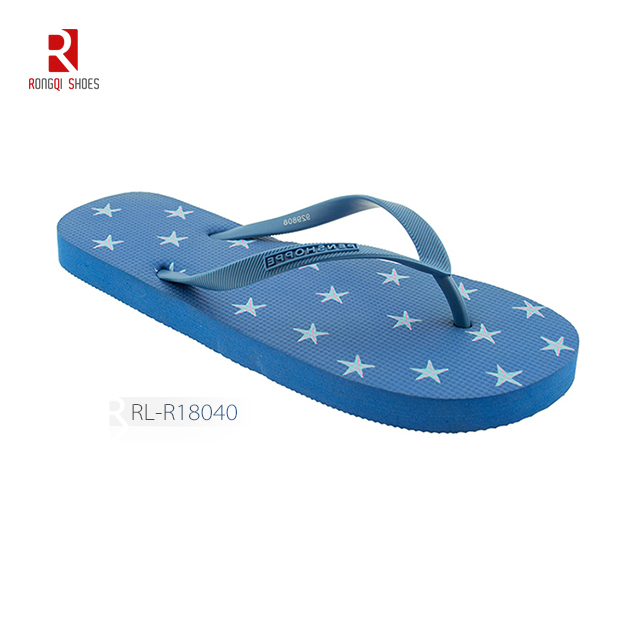 Cheap wholesale pattern customized beach PE flip flops for women