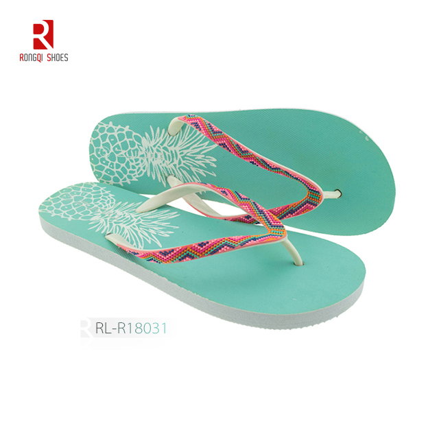Wholesale Bohemia style women customized beach PE flip flops