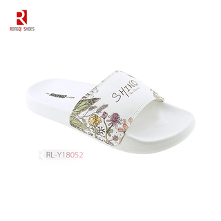 Wholesale Normcore style outdoor and indoor women EVA white slides print logo customized