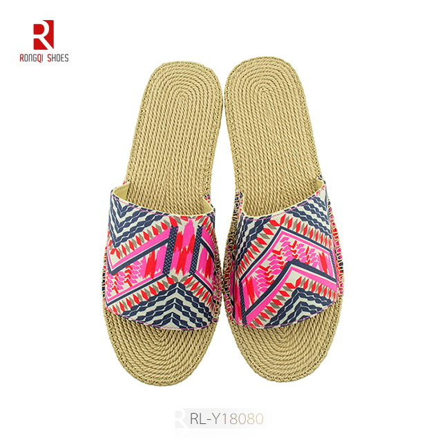 Wholesale EVA linen like finish outdoor customized slippers and home slides for women