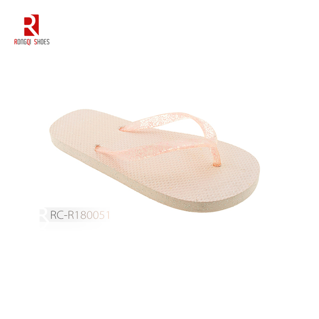 Wholesale girl's jelly flip flops PE EVA outsole beach slippers